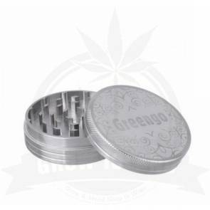 Greengo alu grinder, 2 parts, silver, 50mm